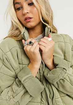 Free People dolman quilted jacket in green