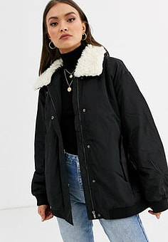 French Connection faux fur trim jacket in black