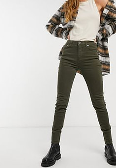 French Connection Organic Cotton Skinny High Wasted Jeans in Green