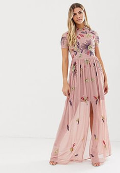 Frock And Frill floral embellished maxi dress in dusky rose-Pink