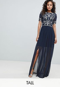Frock And Frill Embellished Top Maxi Dress-Navy