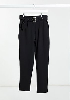 Girl In Mind buckle belted trousers in black