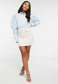 Girl In Mind tweed button detailed skirt in cream check