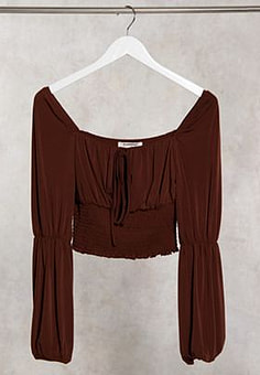 Glamorous milkmaid style top with shirring waist in chocolate-Brown