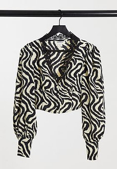 Glamorous vintage cropped blouse with lace collar in abstract stripe-Multi