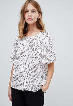 Ichi Printed Blouse With Cape Sleeves-Multi