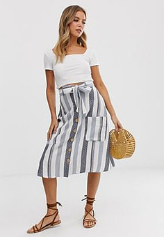 Influence midi skirt with pockets in natural stripe-Multi