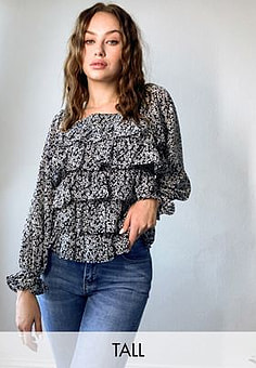 Influence square neck blouse in ditsy floral print-Black