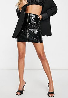Ivyrevel Ivy Revel patent PU zip front mini skirt in black