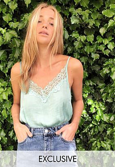 JDY lace cami in blue