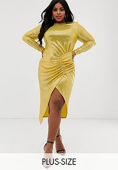 John Zack bodycon maxi dress with ruched detail in yellow sequin