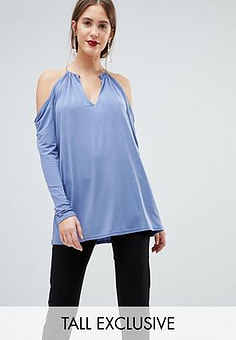 John Zack Plunge Top With Metal Neck Detaiil-Blue
