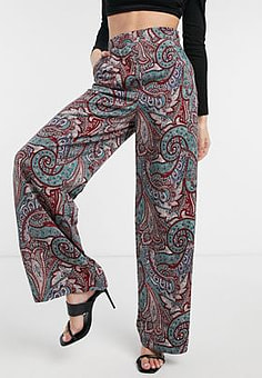 Liquorish wide leg palazzo trousers in paisely print co ord-Multi