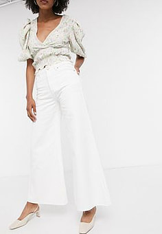 Lost Ink wide leg jeans in white