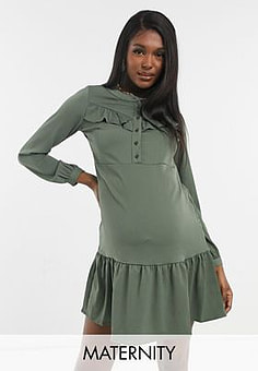 Mama.licious Mamalicious Maternity mini dress with peplum hem in khaki-Green