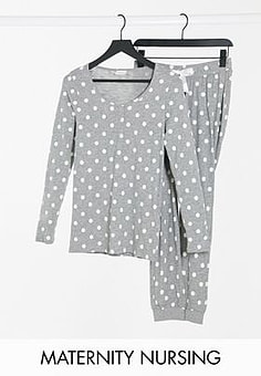 Mama.licious Mamalicious Maternity pyjama set with nursing function in grey polka dot-Multi