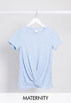 Mama.licious Mamalicious Maternity t-shirt with knot front in baby blue