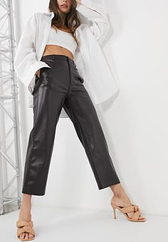 Mango faux leather straight trousers in dark brown-Red