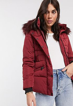 Maya faux fur puffer jacket with belt in wine-Red