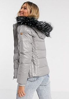 Maya puffer jacket with detachable faux fur hood in silver