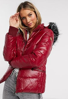Maya puffer jacket with detachable faux fur hood in wine-Red