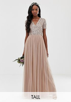 Maya Bridesmaid v neck maxi tulle dress with tonal delicate sequins-Brown