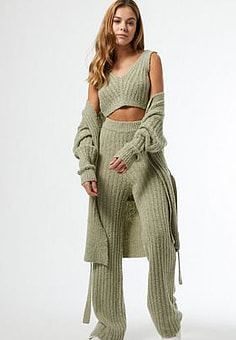 Miss Selfridge knitted trousers in sage-Green