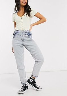 Miss Selfridge mom jeans with frill pocket in light wash-Blue