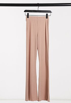 Miss Selfridge ribbed flared trousers in camel-Brown