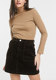 Monki a-line skirt in brown