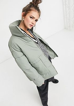 Monki Bea recycled mid lenght padded jacket in khaki-Green