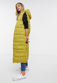 Monki Lizz recycled sleeveless long padded jacket in olive-Green