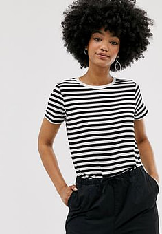 Monki relaxed fit crew neck t-shirt in black and white stripe-Multi