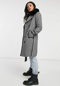 Morgan contrast trim check coat with faux fur trim collar in multi