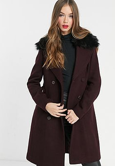 Morgan double breasted coat with faux fir collar detail in burgundy-Navy