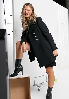 Morgan double breasted swing coat in black