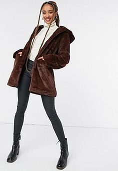 Morgan faux fur coat in brown