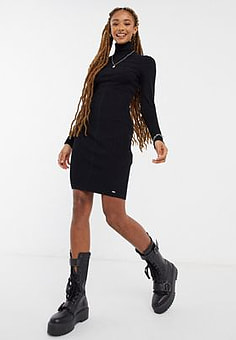 Morgan knitted high neck mini dress in black