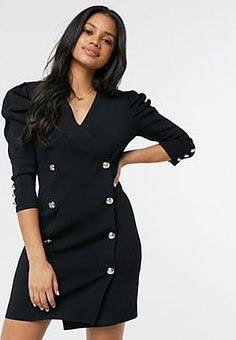 Morgan knitted tuxedo dress with puff sleeves in black