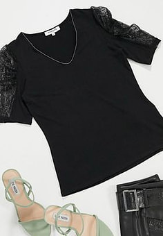 Morgan lace puff sleeve top in black