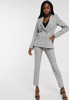 Morgan tailored trouser in grey yellow check