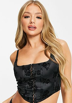 Motel square neck satin corset with spaghetti straps-Black