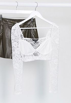 NaaNaa lace detail crop top in white