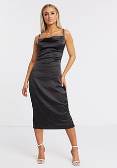NaaNaa satin slip midi dress with cowl front in black