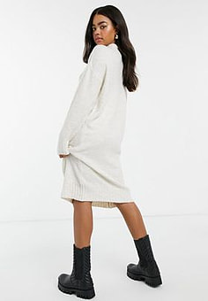 New Look high neck knitted midi dress in white