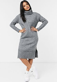 New Look knitted roll neck midi jumper dress in grey