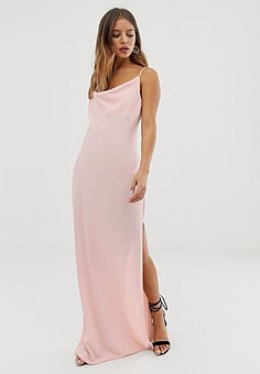 New Look maxi dress with cowl neck in pink