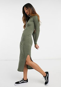 New Look ribbed turtle neck bodycon dress in khaki-Green