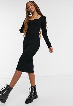 New Look sweetheart knitted dress in black