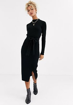 New Look tie waist maxi knitted dress in black